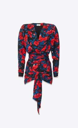 Saint Laurent Silk Jacquard Draped Dress