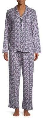 Karen Neuburger Two-Piece Trimmed Floral Pajama Set