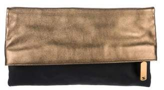 Fendi Metallic Grained Leather Clutch