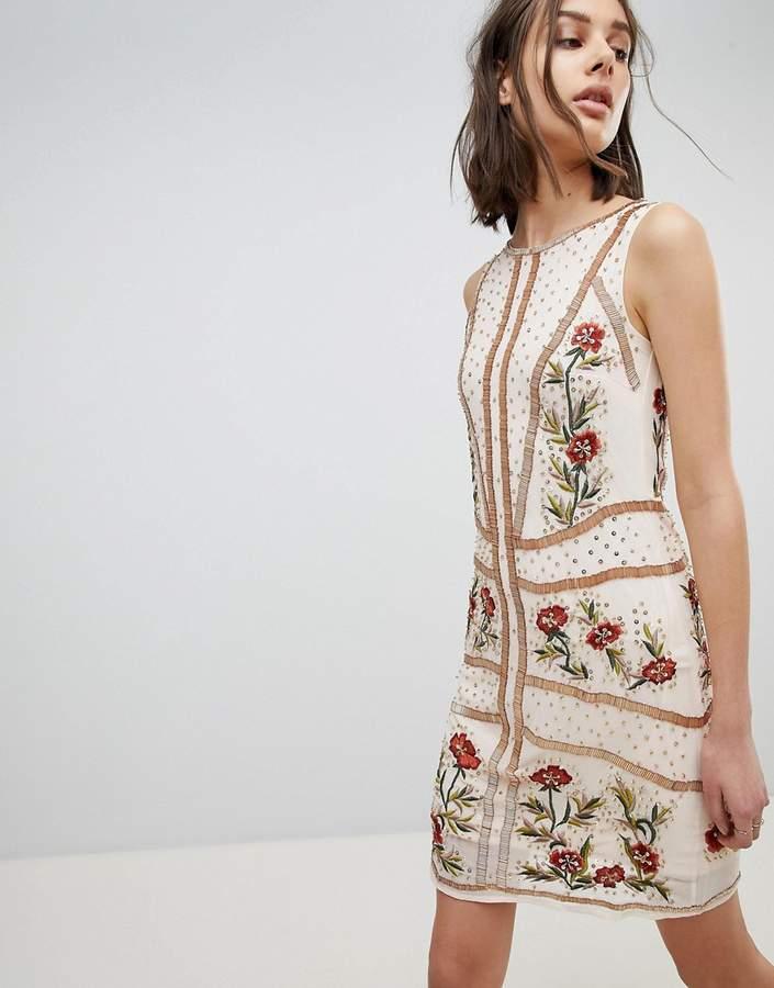 Frock and Frill Floral Embellished Shift Dress