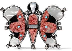 Valentino Burnished Silver-Tone And Resin Belt Buckle