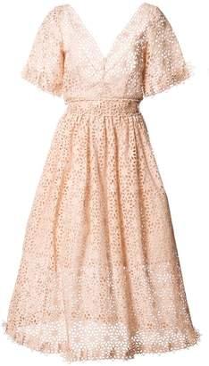 Oscar de la Renta cutout floral flared dress