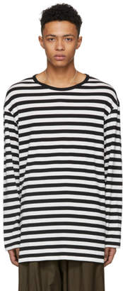 Yohji Yamamoto Black and White Long Sleeve Striped Staff T-Shirt