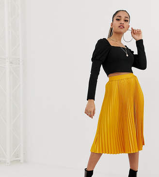 Outrageous Fortune Petite midi skater skirt in mustard