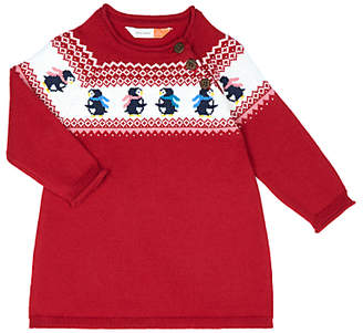 John Lewis Penguin Intarsia Knit Dress, Red