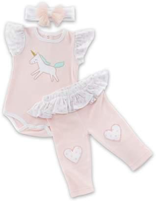 Baby Aspen Baby Girl Unicorn Bodysuit, Heart Leggings & Headband Set