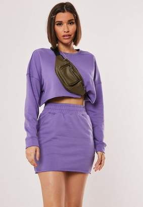 Missguided Purple Cropped Sweater And Skirt Co Ord Set
