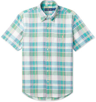 Ralph Lauren Button-down Collar Checked Cotton-blend Shirt - Multi aIevSO7H