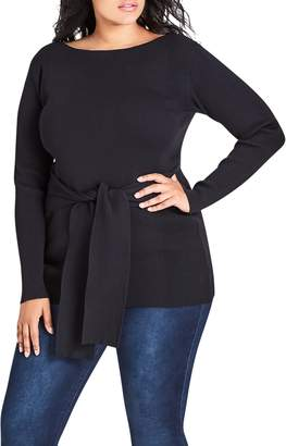 City Chic Tie Waist Long Sleeve Knit Top