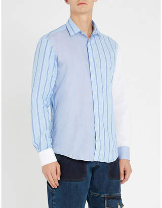 J.W.Anderson Colour-blocked striped classic-fit cotton shirt