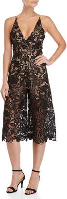 Dress the Population Mario Embroidered Lace Culotte Jumpsuit