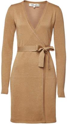 Diane von Furstenberg Wrap Dress with Merino Wool and Metallic Thread