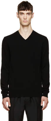 Comme des Garcons Black Wool V-Neck Logo Sweater