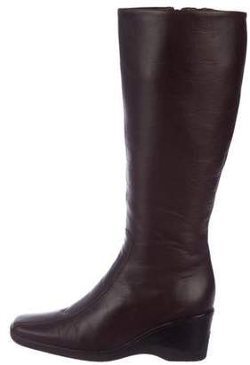Aquatalia Leather Wedge Knee-High Boots