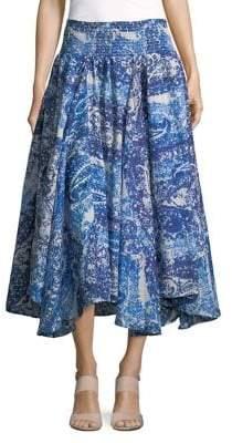 Context Paisley Asymmetric Maxi Skirt