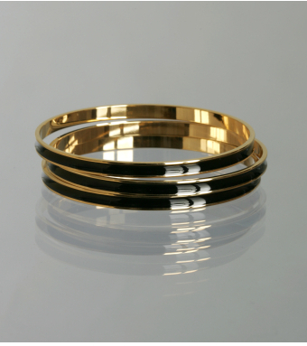 A.V. Max set of 3 - black enamel gold bangles