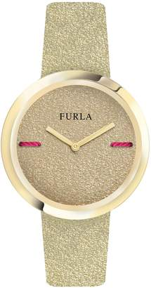 Furla Piper Metallic Leather Dial Leather Strap Watch, 34mm