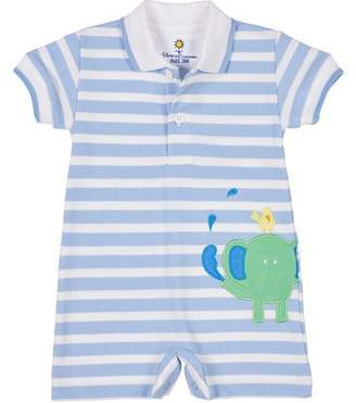 Florence Eiseman Spin Your Wheels Elephant & Bird Striped Pique Shortall, Size 3-18 Months