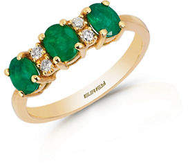 Effy 14K Yellow Gold Natural Emerald Ring with 0.08TCW Diamonds