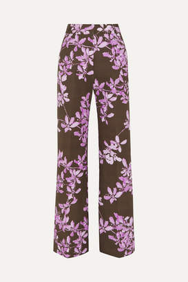 Dries Van Noten Floral-print Cotton-twill Wide-leg Pants - Gray