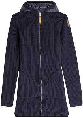 Parajumpers Wool-Cotton Knitted Jacket with Down Filling and Hood