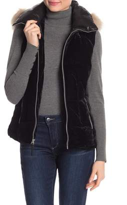 Andrew Marc Val Faux Fur Velvet Hooded Vest