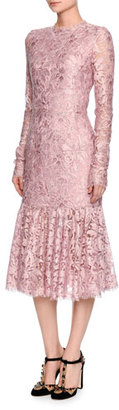 Dolce & Gabbana Long-Sleeve Lace Flounce-Hem Dress, Light Pink $3,995 thestylecure.com