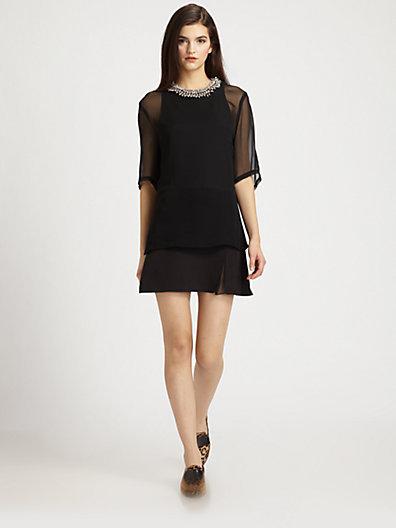 3.1 Phillip Lim Silk Chiffon & Cotton Beaded-Neck Layered Dress