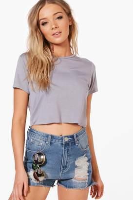 boohoo Oversized Basic Short Sleeve Crop Top
