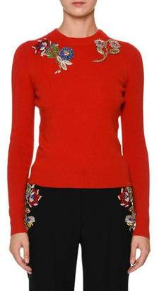 Alexander McQueen Crewneck Fitted Pullover Sweater with Jewel Embellishment