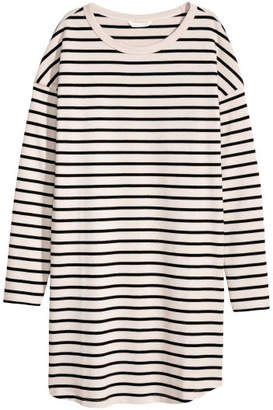 H&M Long-sleeved Jersey Dress - Beige