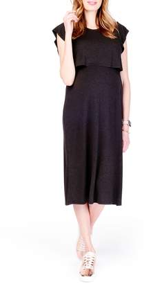 Ingrid & Isabel R) Maternity/Nursing Midi Dress