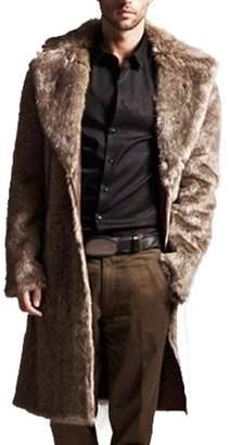 XILALU Mens Warm Plus Thickening Long Coat Jacket Faux Fur Parka Outwear Cardigan (M, )