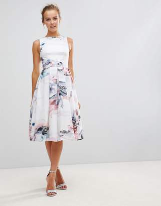 Little Mistress Floral Print Midi Pleated Dress