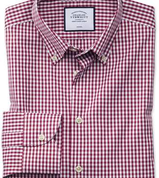 Charles Tyrwhitt Extra slim fit business casual non-iron button-down berry check shirt