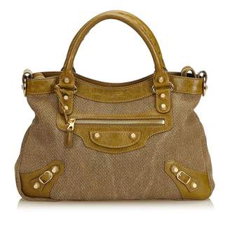 Balenciaga Town Brown Cloth Handbag