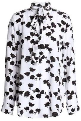 Equipment Pussy-Bow Printed Silk Crepe De Chine Blouse