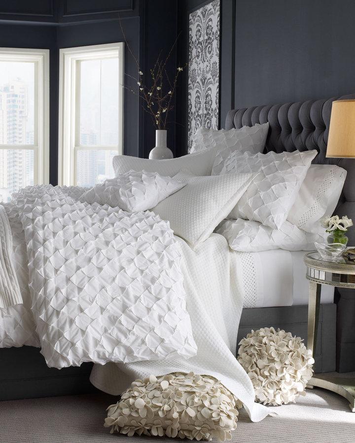Horchow Puckered Diamond Bed Linens King Trellis Sheet Set