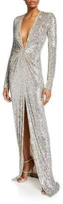 Naeem Khan Long-Sleeve V-Neck Sparkle Gown