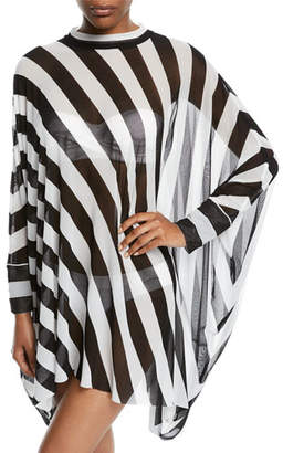 Norma Kamali Turtle Striped Long-Sleeve Coverup Poncho