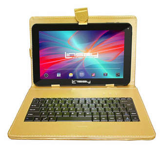 LINSAY New 10.1'' Quad Core 1024x600HD 16GB Android 6.0 Tablet with Golden Leather Keyboard Case