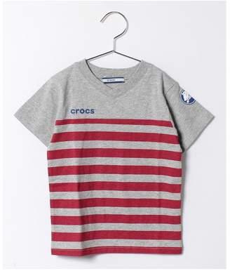 Crocs (クロックス) - crocs(KIDS WEAR) ボーダープリントVネックTシャツ