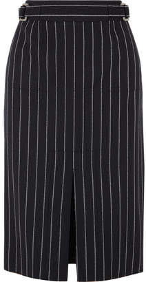 Tom Ford Pinstriped Wool Midi Skirt - Black