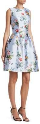 Monique Lhuillier Mikado Fit-&-Flare Sleeveless Dress