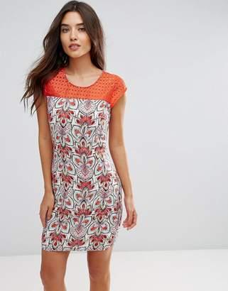 Lavand Tie Print Panel Shift Dress