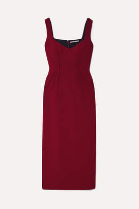 Emilia Wickstead Juditella Wool-crepe Midi Dress - Claret