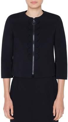 Akris Punto 3/4-Sleeve Scalloped-Jersey Zip-Front Jacket