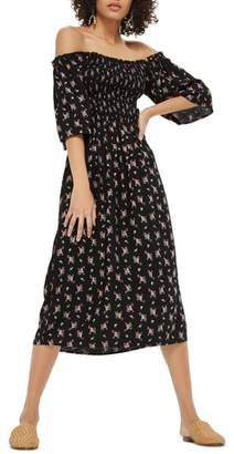 Topshop Shirred Bell Sleeve Midi Dress