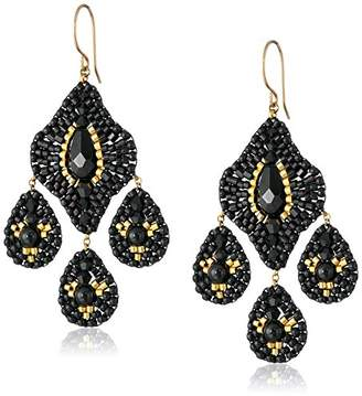 Miguel Ases Onyx 3-Drop Earrings