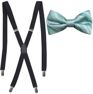 Jf J.Ferrar JF Striped Bowtie and Suspender Set
